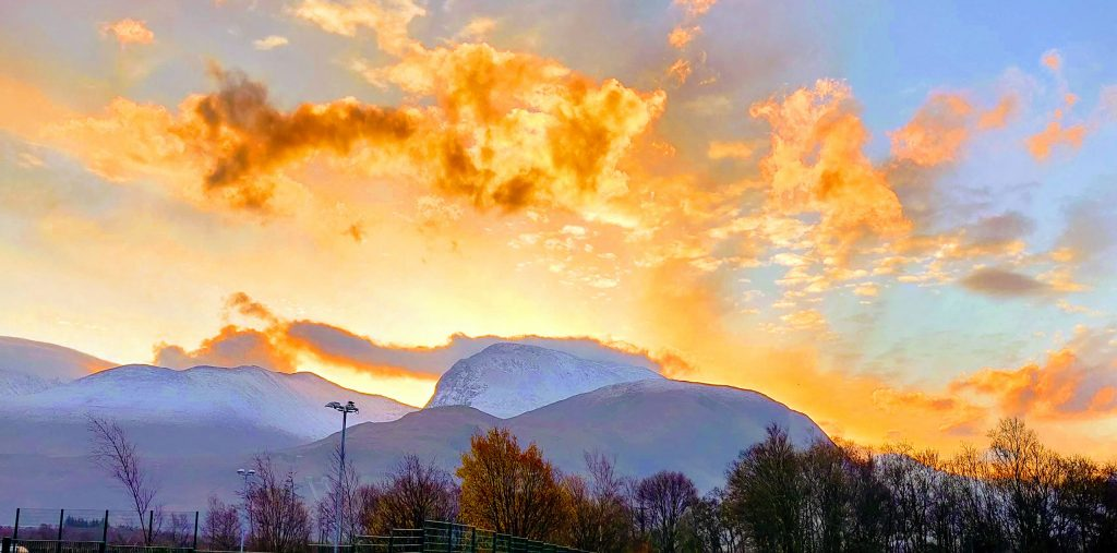 Ben Nevis in Lochaber sun rising